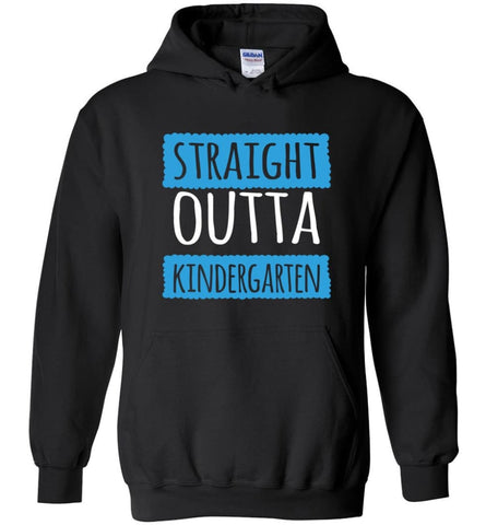 Straight Outta Kindergarten Funny Shirt Vintage Kids Graduation - Hoodie - Black / M