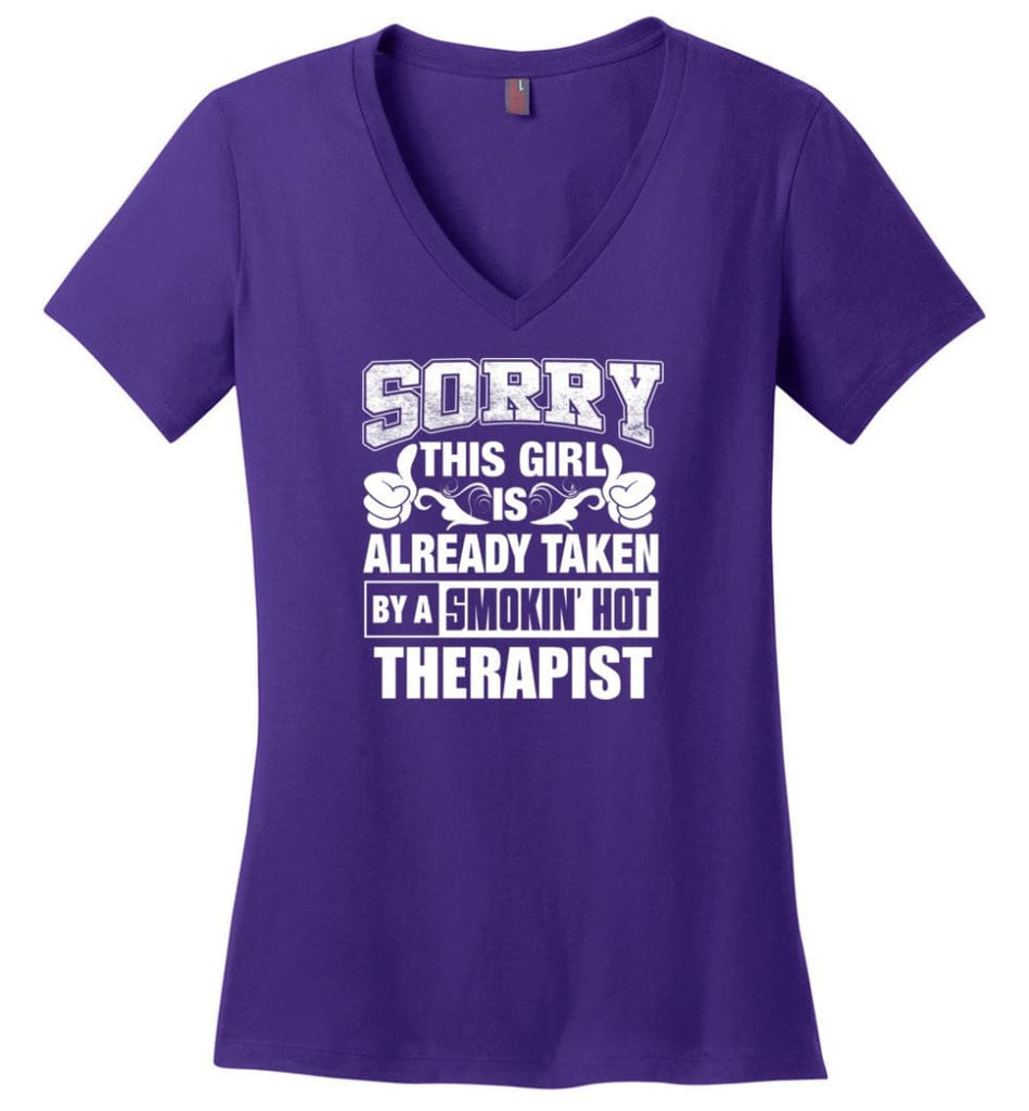 STRUCTURAL ENGINEER Shirt Sorry This Girl Is Already Taken By A Smokin' Hot Ladies V-Neck - Purple / M - 11