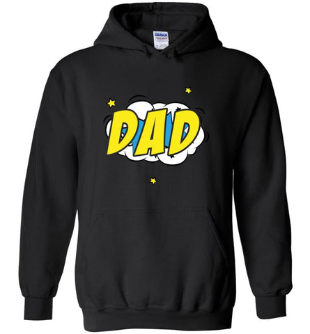Superhero Dad Shirt Cartoon Hero Father Gift for New Dad Daddy Father Hoodie - Black / M