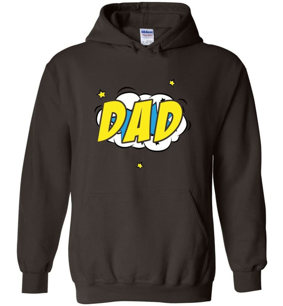 Superhero Dad Shirt Cartoon Hero Father Gift for New Dad Daddy Father Hoodie - Dark Chocolate / M