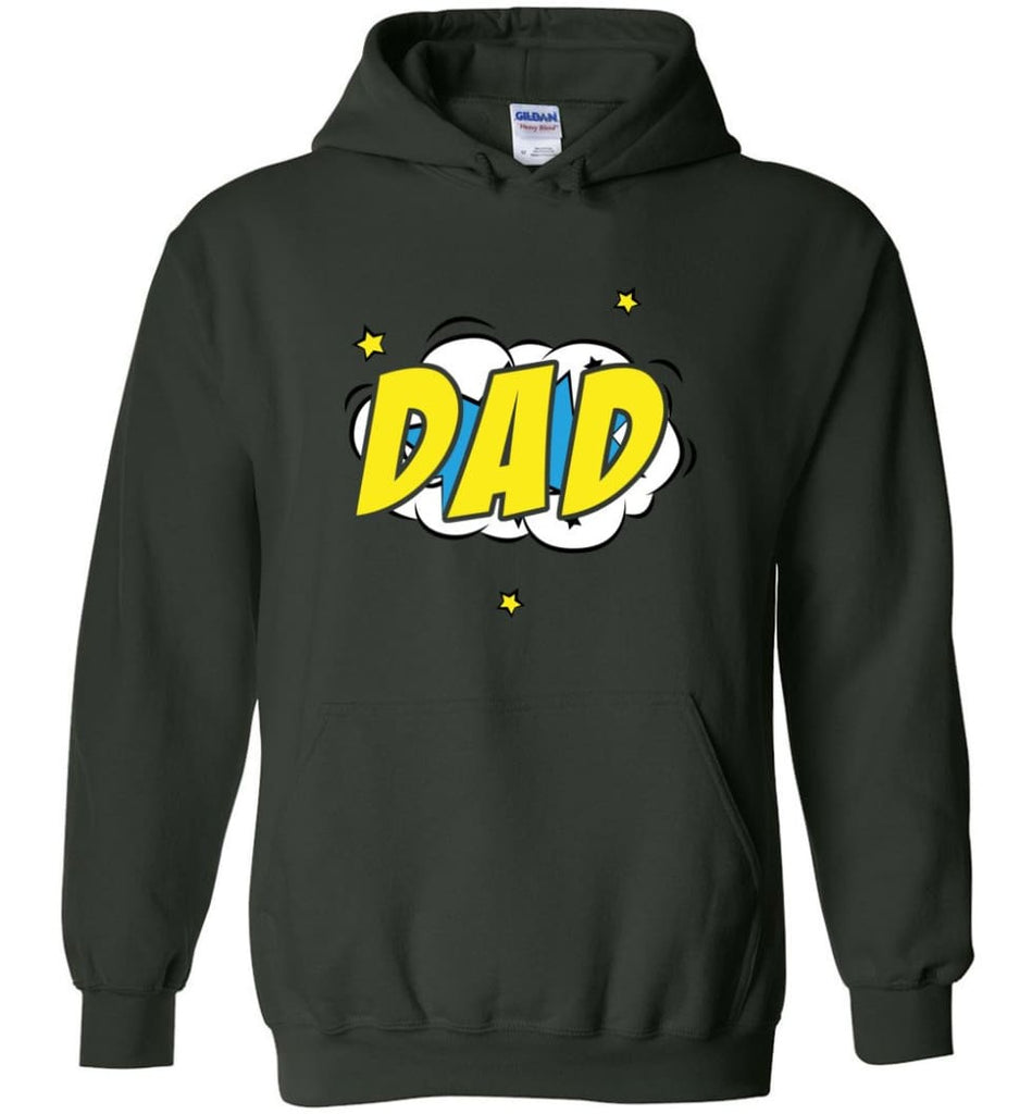 Superhero Dad Shirt Cartoon Hero Father Gift for New Dad Daddy Father Hoodie - Forest Green / M