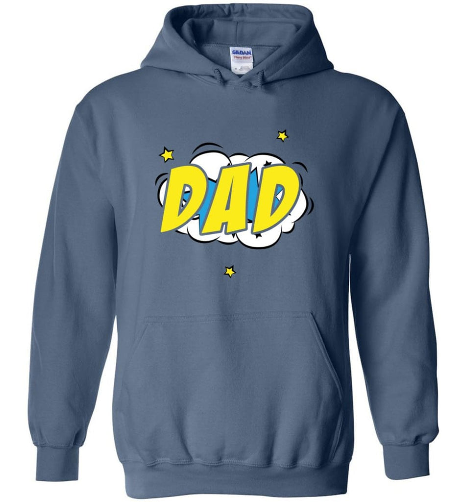 Superhero Dad Shirt Cartoon Hero Father Gift for New Dad Daddy Father Hoodie - Indigo Blue / M