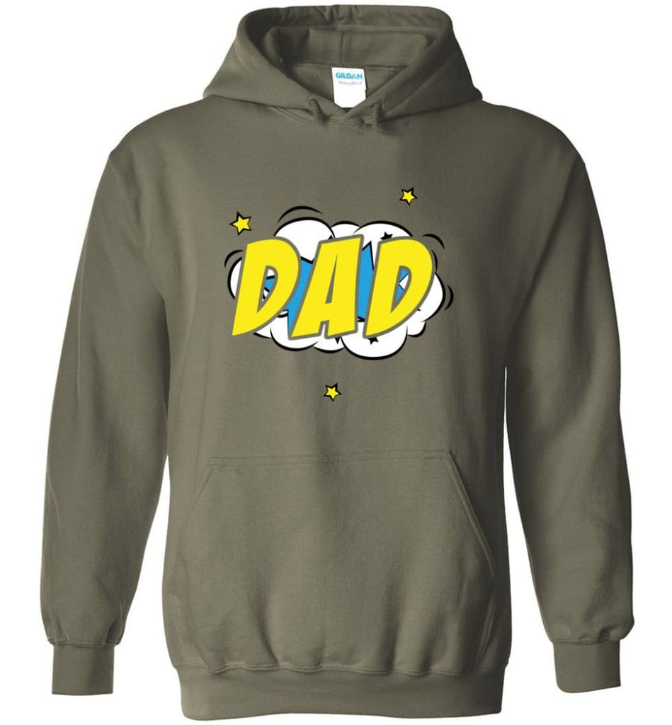 Superhero Dad Shirt Cartoon Hero Father Gift for New Dad Daddy Father Hoodie - Military Green / M