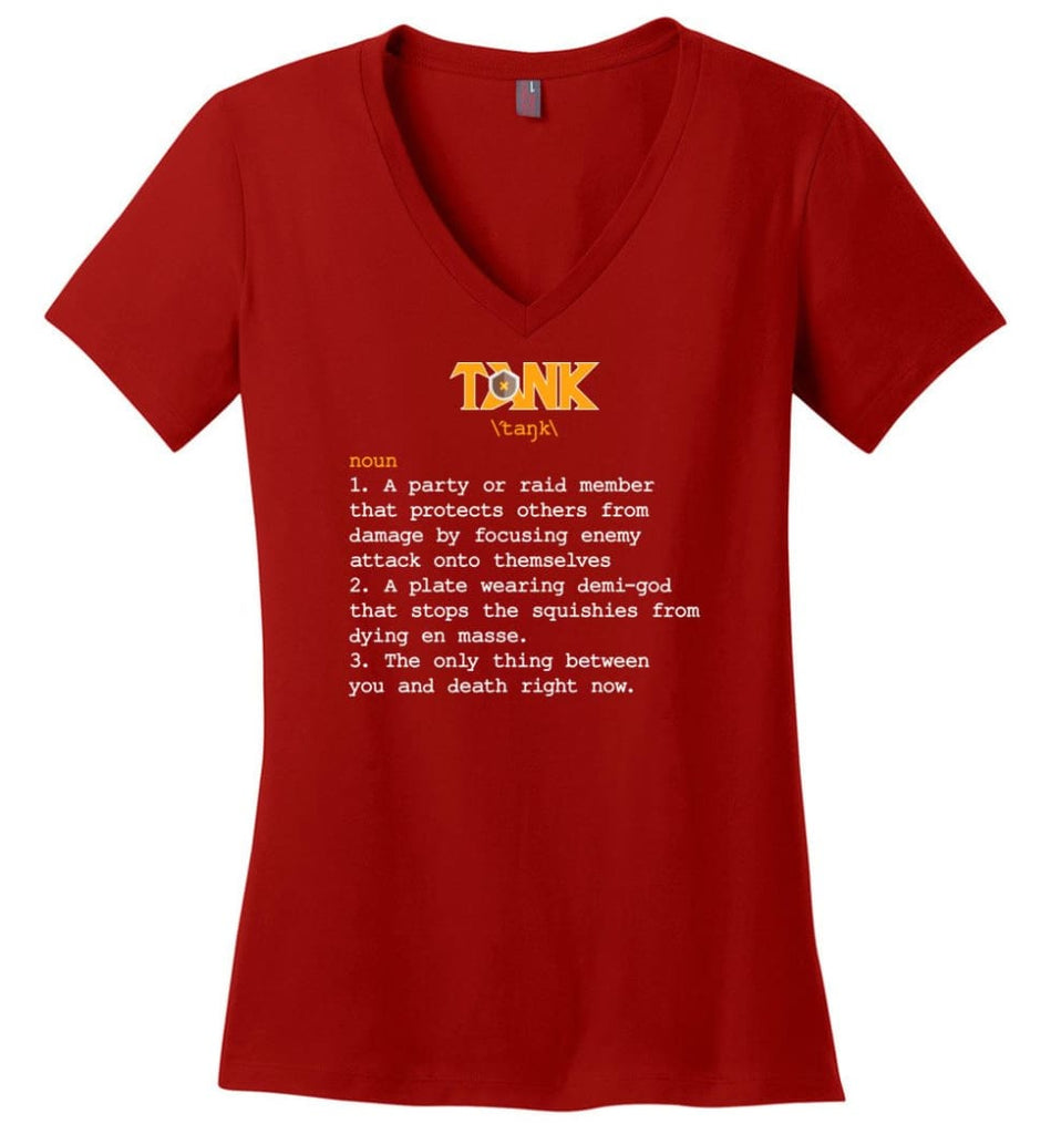 Tank Definition Tank Meaning Ladies V-Neck - Red / M