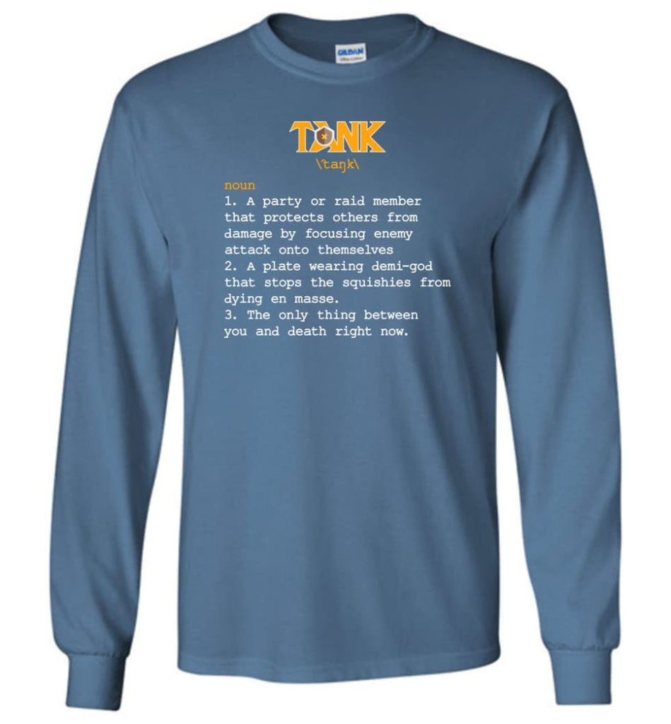 Tank Definition Tank Meaning Long Sleeve T-Shirt - Indigo Blue / M