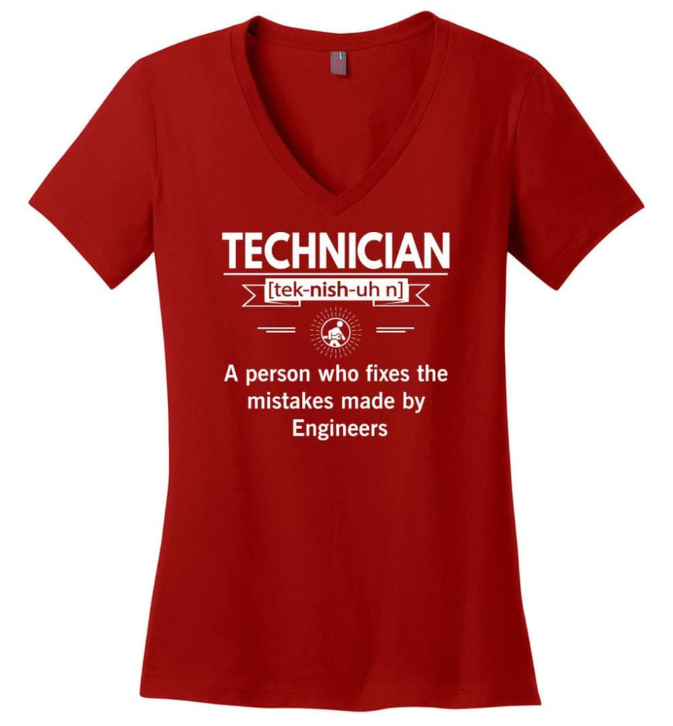 Technician Definition Ladies V-Neck - Red / M