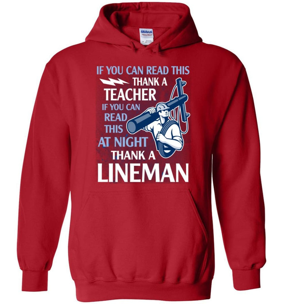 Thank A Lineman Shirt Electrical Lineman Hoodies Lineman Sweatshirts - Hoodie - Red / M