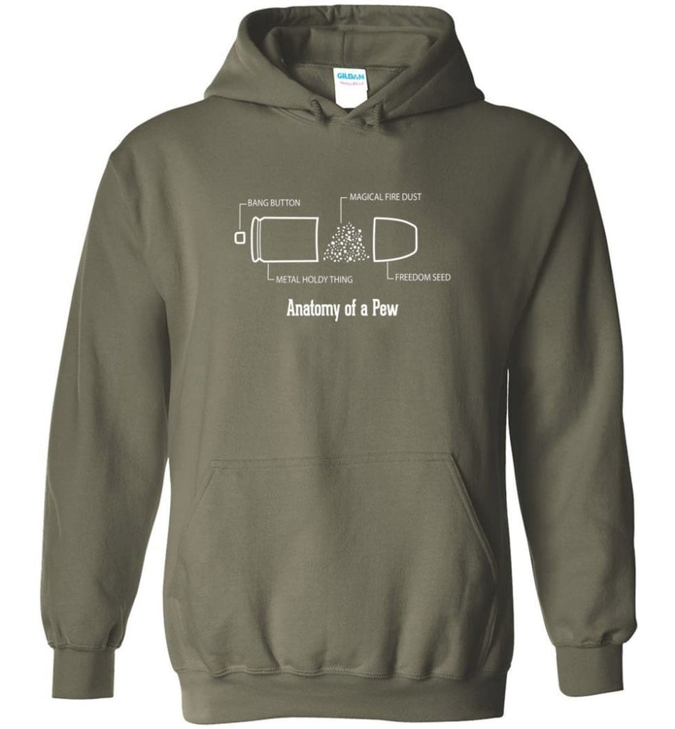The Anatomy of a Pew Shirt Funny Bullet Shirt Gift - Hoodie - Military Green / M
