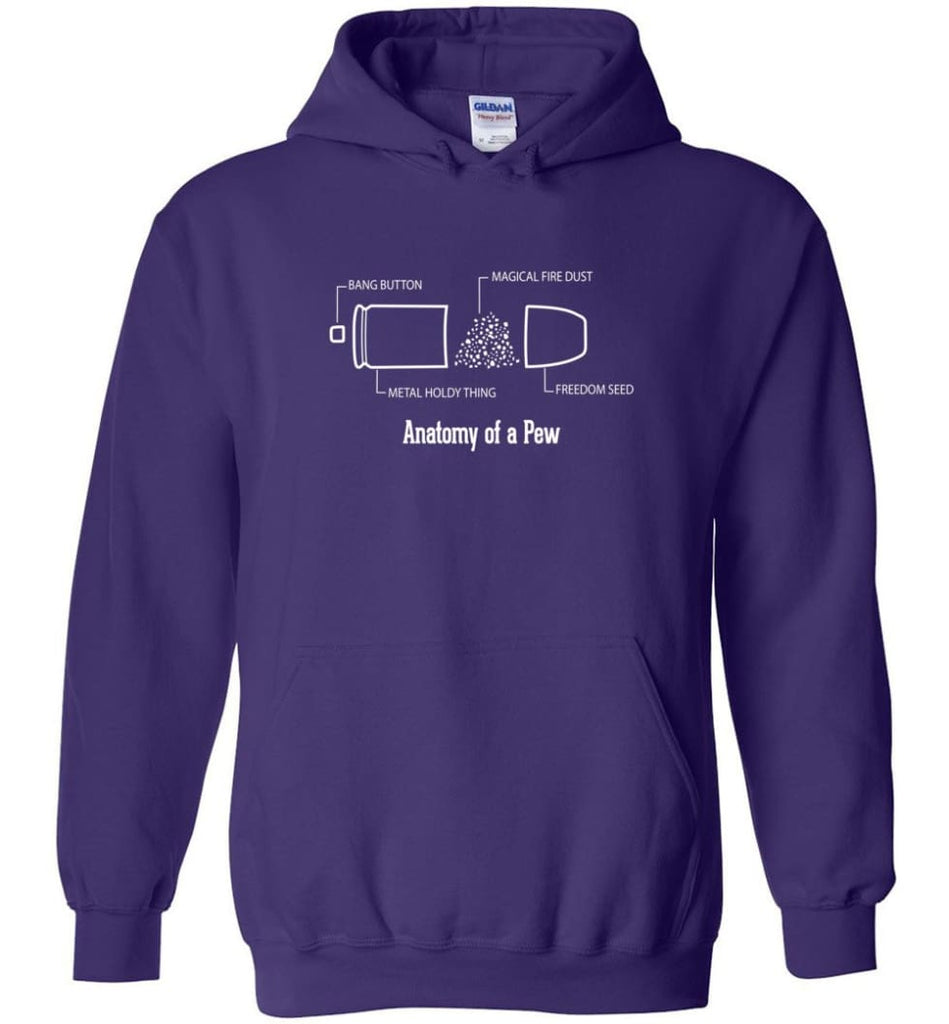 The Anatomy of a Pew Shirt Funny Bullet Shirt Gift - Hoodie - Purple / M