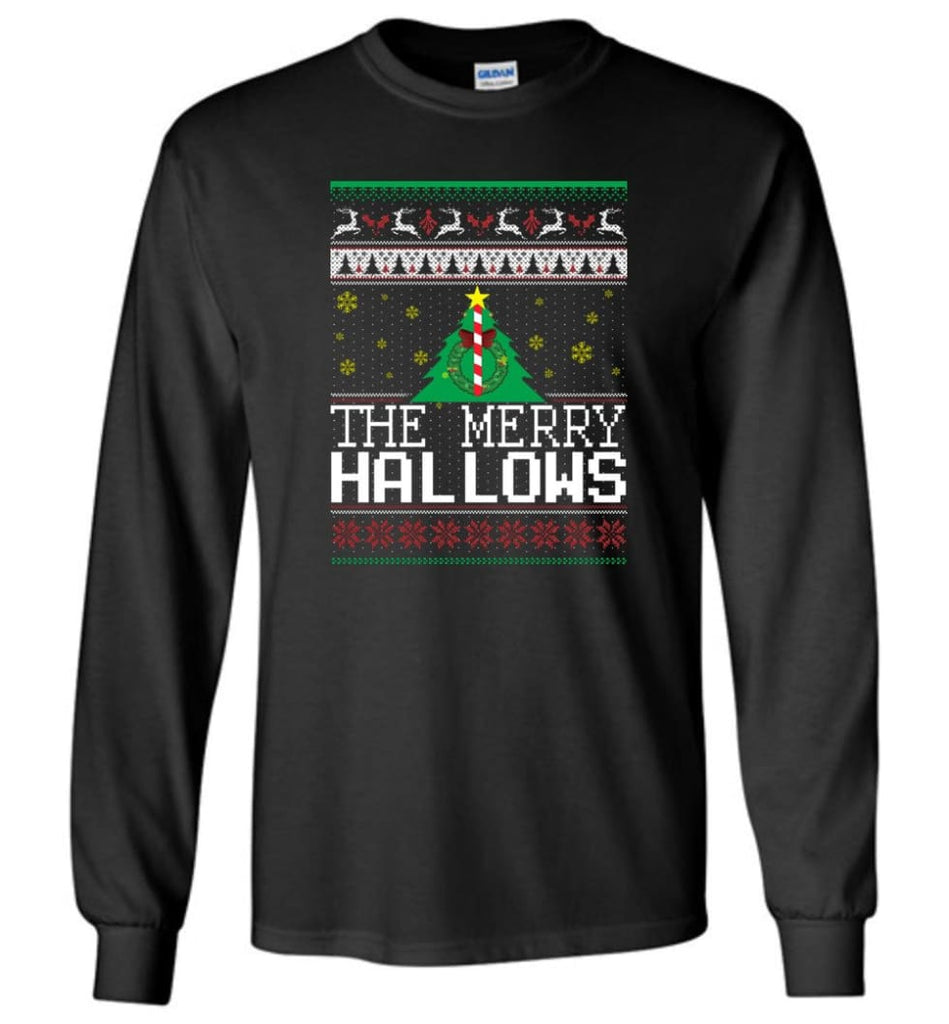 The Merry Hallows Cool Funny Best Christmas Gift for Harry Potter Fans Long Sleeve T-Shirt - Black / M