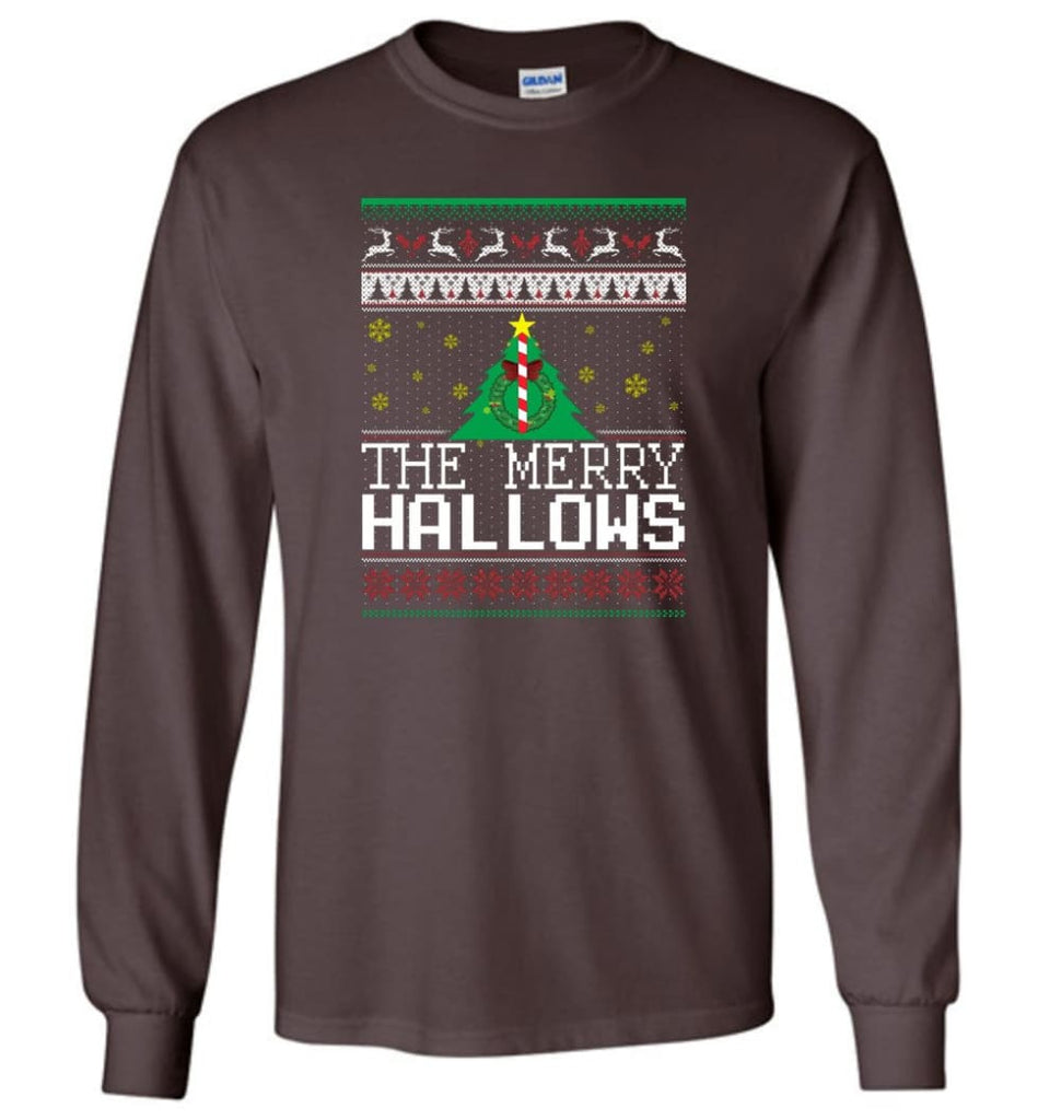 The Merry Hallows Cool Funny Best Christmas Gift for Harry Potter Fans Long Sleeve T-Shirt - Dark Chocolate / M