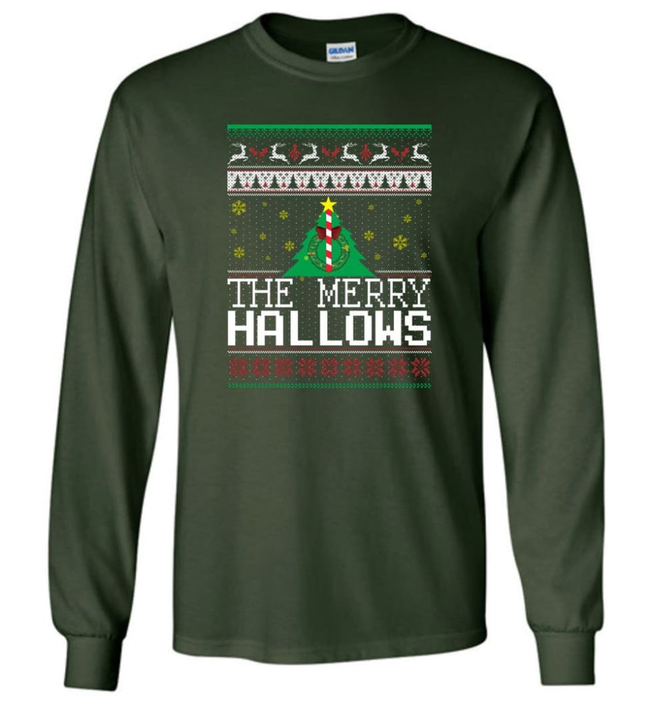 The Merry Hallows Cool Funny Best Christmas Gift for Harry Potter Fans Long Sleeve T-Shirt - Forest Green / M