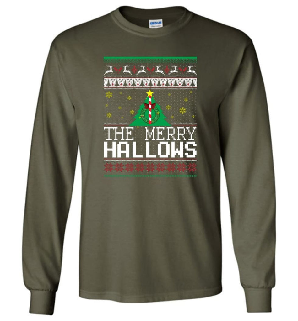 The Merry Hallows Cool Funny Best Christmas Gift for Harry Potter Fans Long Sleeve T-Shirt - Military Green / M