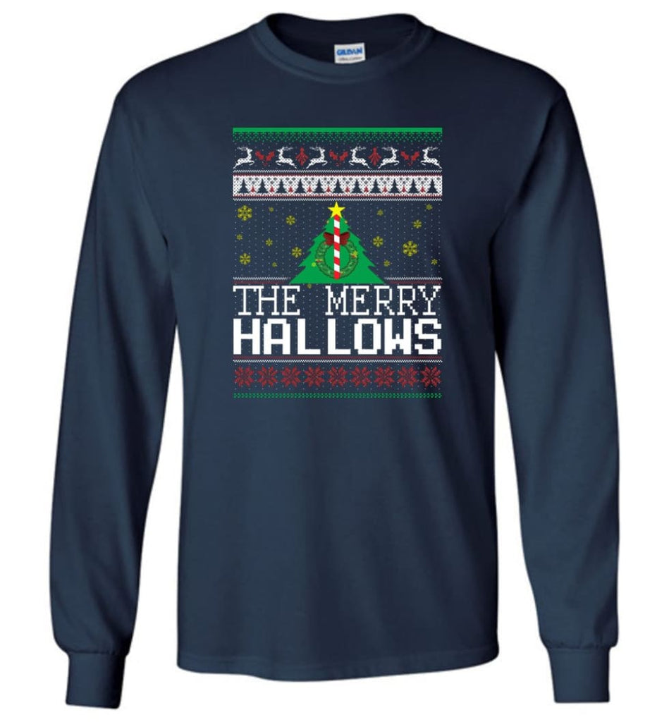 The Merry Hallows Cool Funny Best Christmas Gift for Harry Potter Fans Long Sleeve T-Shirt - Navy / M