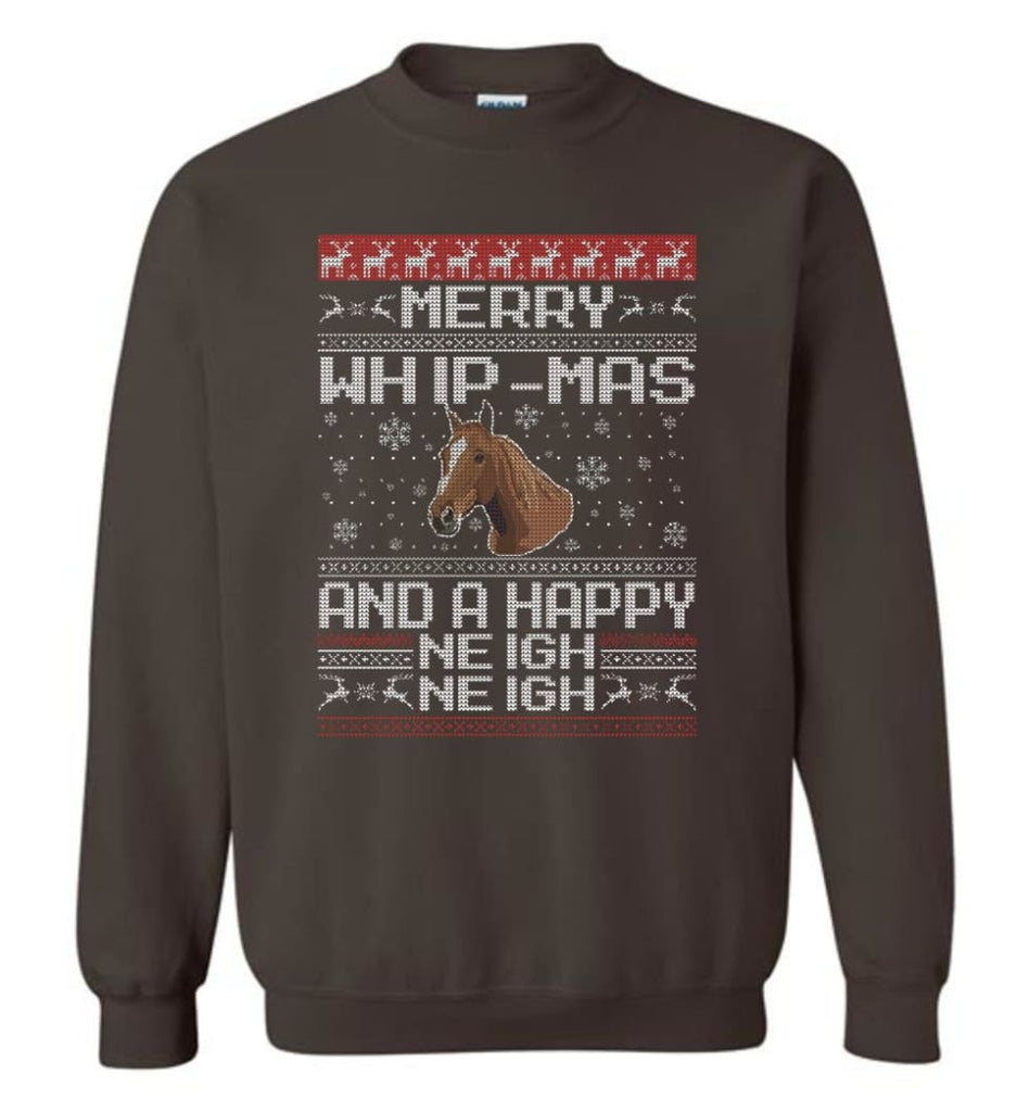 The Merry Whip Mas And Happy Neigh Neigh Shirt Horse Lover Hoodie Horse Christmas Gift Sweater Sweatshirt - Dark