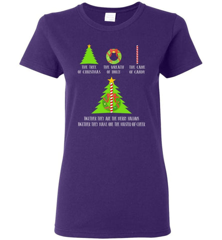 The Tree Of Christmas The Wreath Of Holly The Cane Of Candy Together They Are Merry Hallows Women Tee - Purple / M