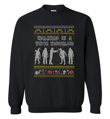 The Walking Dead Ugly Christmas Sweatshirt Sweater Hoodie Twd Zombie Grr Argh Sweatshirt - Black / M