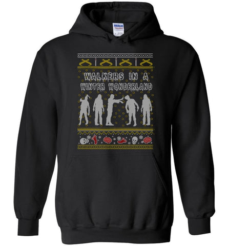The Walking Dead Ugly Christmas Sweatshirt Sweater Hoodie TWD Zombie Grr Argh - Hoodie - Black / M