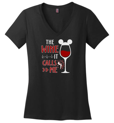 The Wine It Calls Me Wine Gifts For Mom Hoodie Sweatshirt Sweater - Ladies V-Neck - Black / M