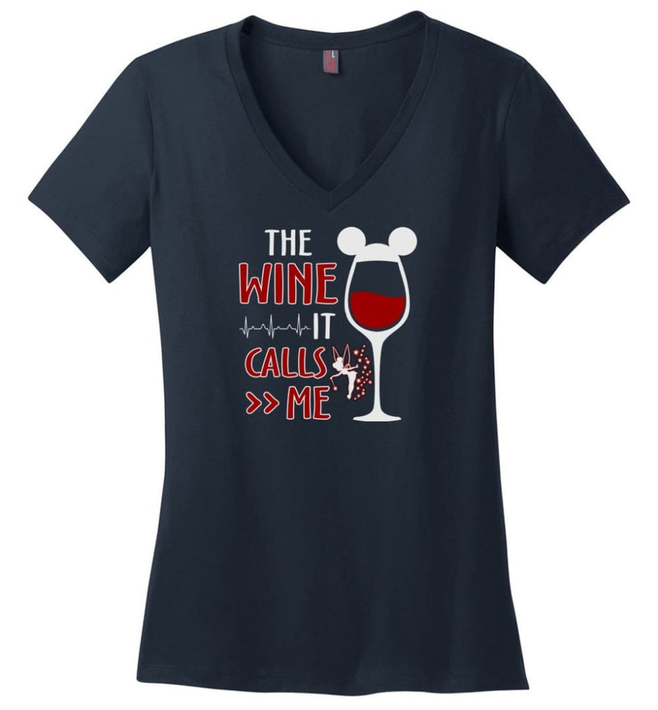 The Wine It Calls Me Wine Gifts For Mom Hoodie Sweatshirt Sweater - Ladies V-Neck - Navy / M