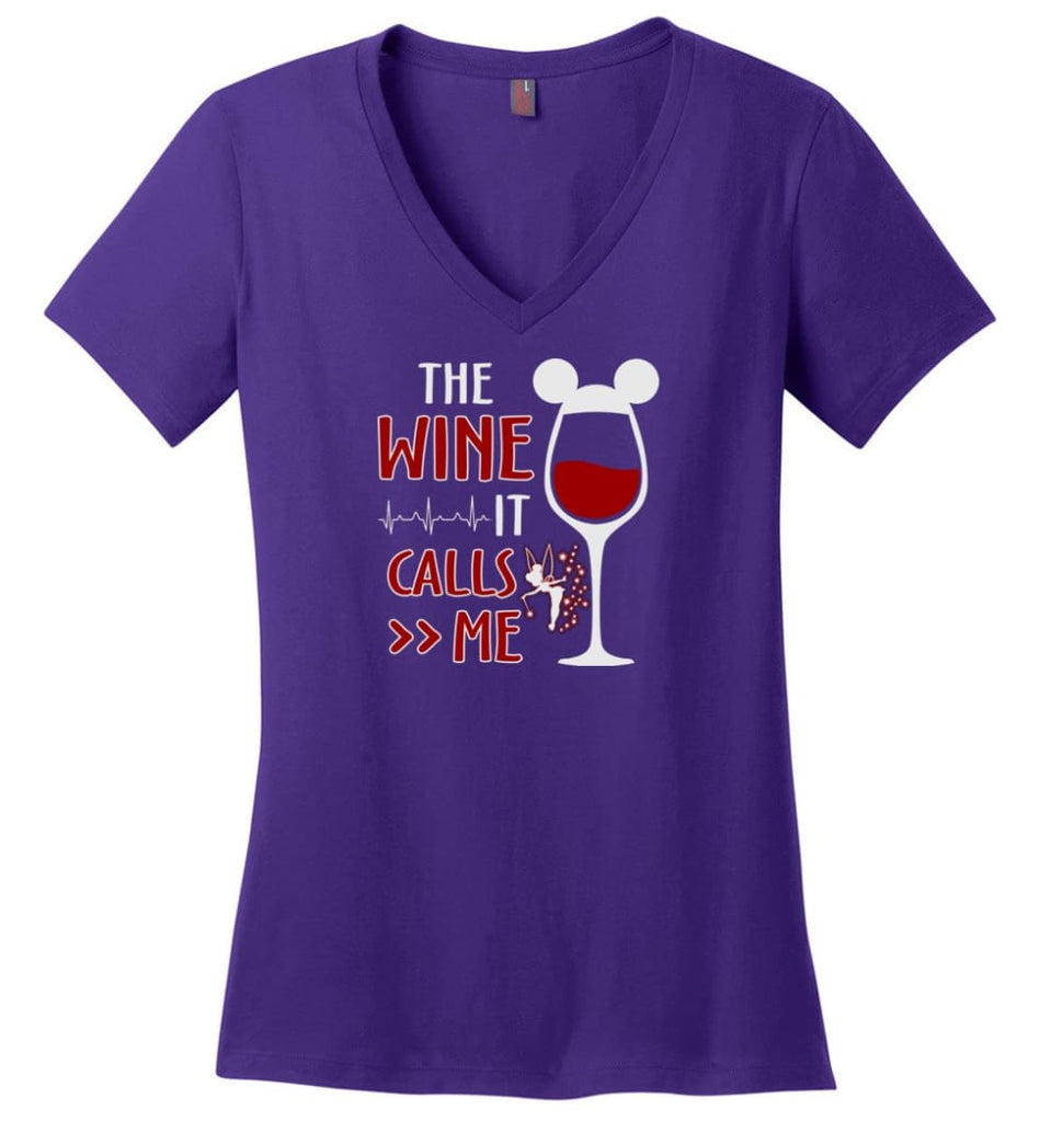 The Wine It Calls Me Wine Gifts For Mom Hoodie Sweatshirt Sweater - Ladies V-Neck - Purple / M