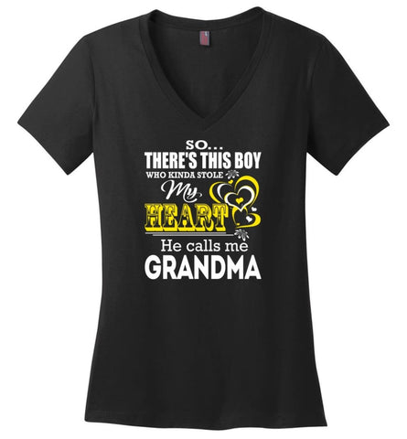 This Boy Who Kinda Stole My Heart He Calls Me Grandma Ladies V-Neck - Black / M