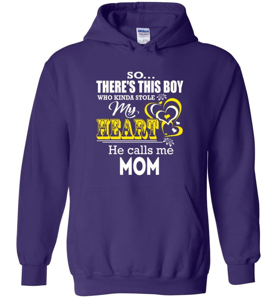 This Boy Who Kinda Stole My Heart He Calls Me Mom - Hoodie - Purple / M