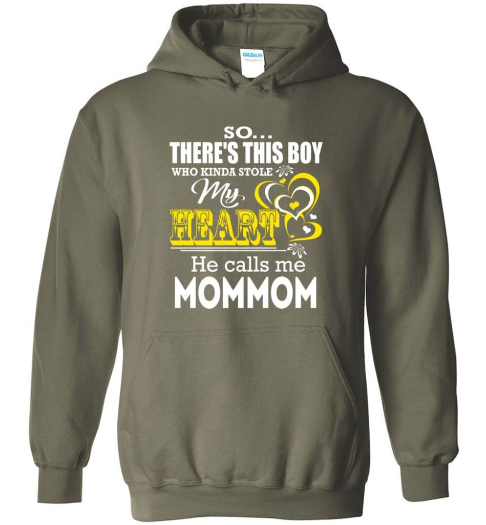 This Boy Who Kinda Stole My Heart He Calls Me Mommom Hoodie - Military Green / M
