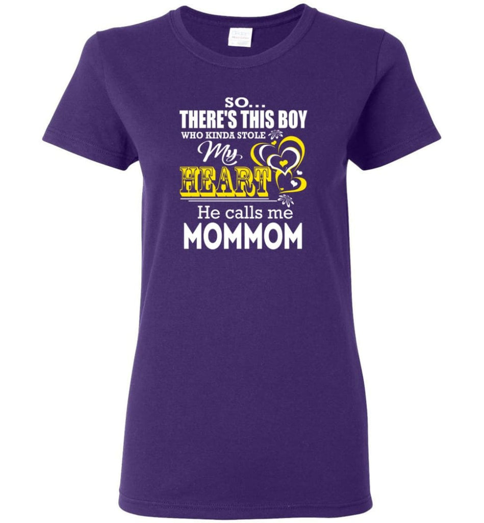 This Boy Who Kinda Stole My Heart He Calls Me Mommom Women Tee - Purple / M
