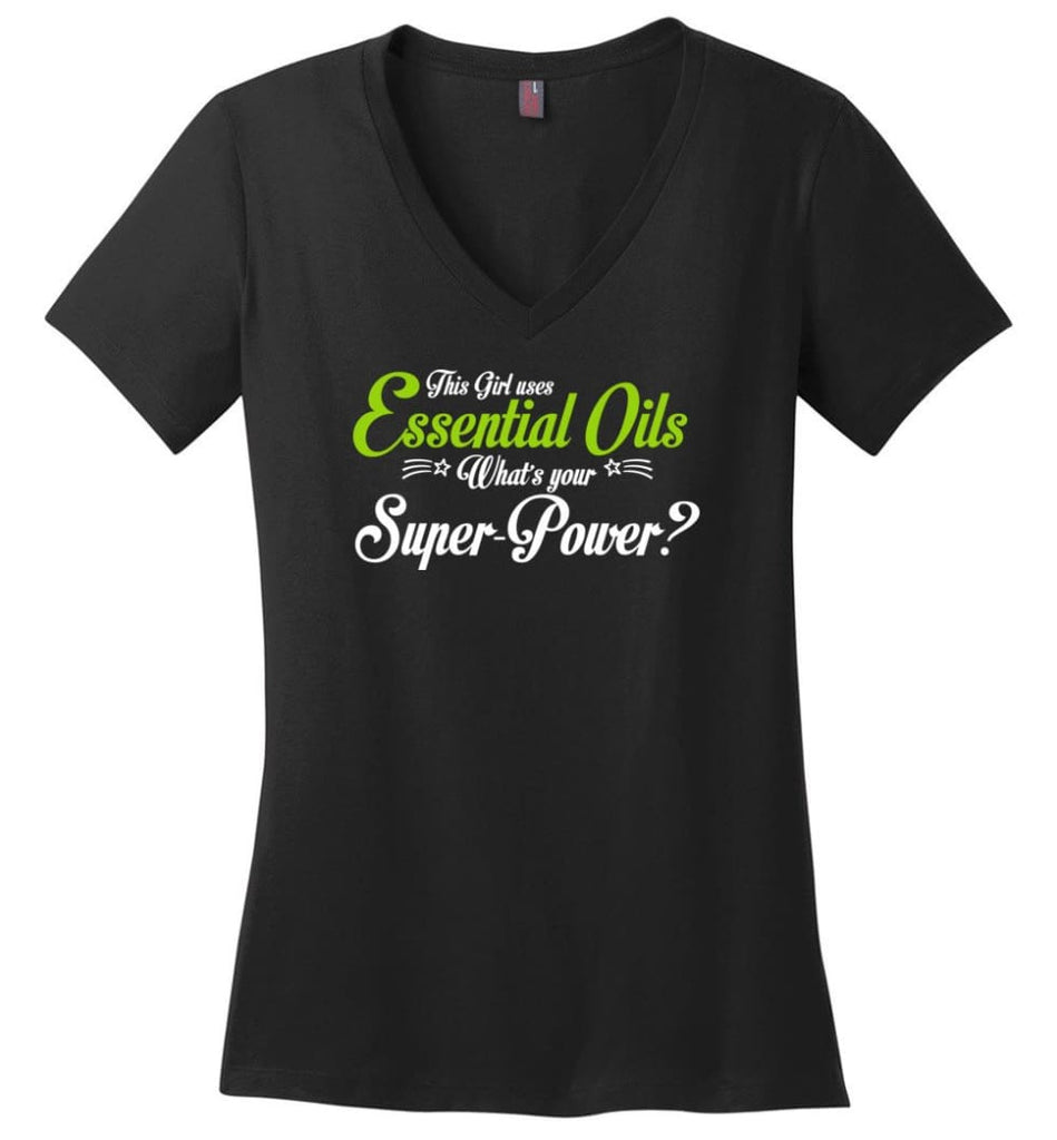 This Girl Uses Essential Oils Ladies V-Neck - Black / M