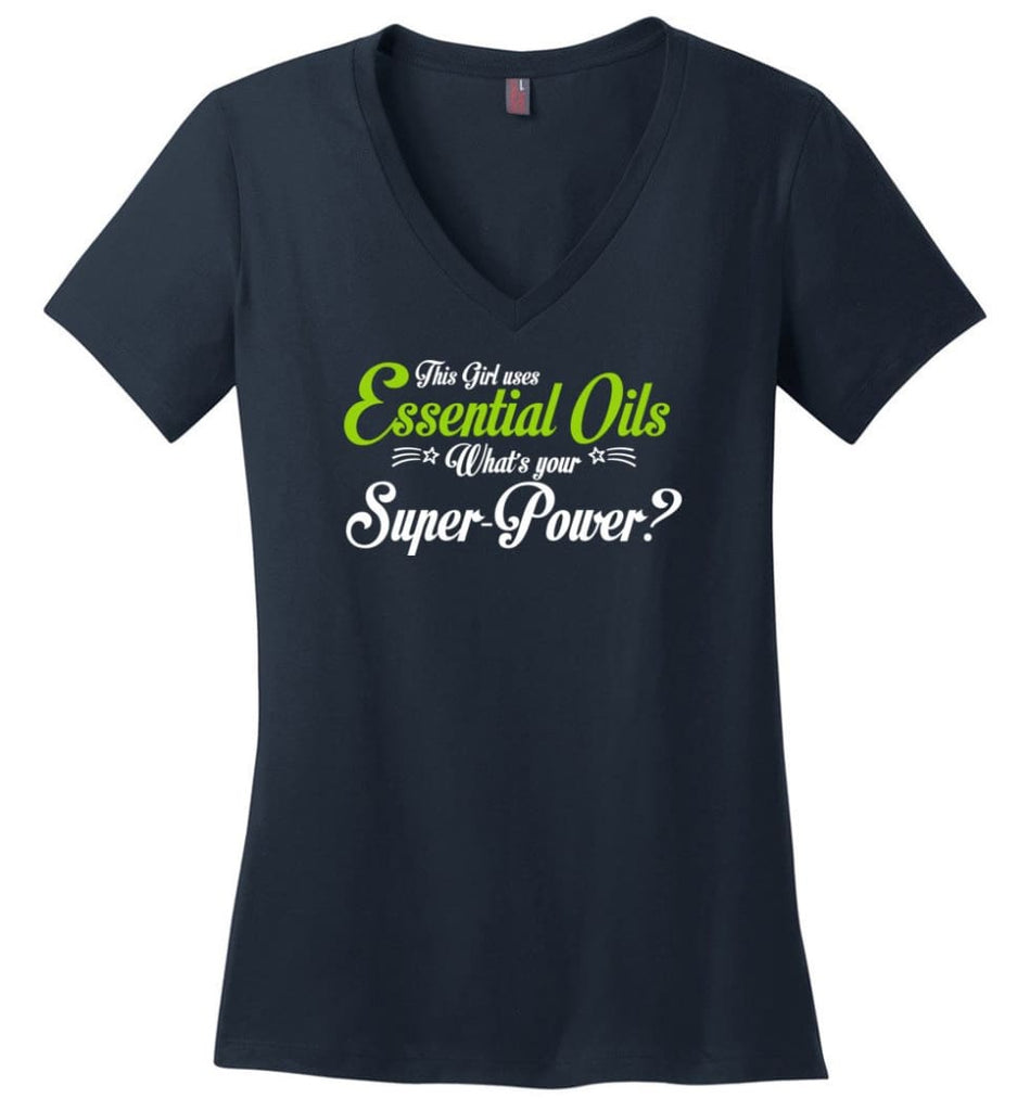 This Girl Uses Essential Oils Ladies V-Neck - Navy / M