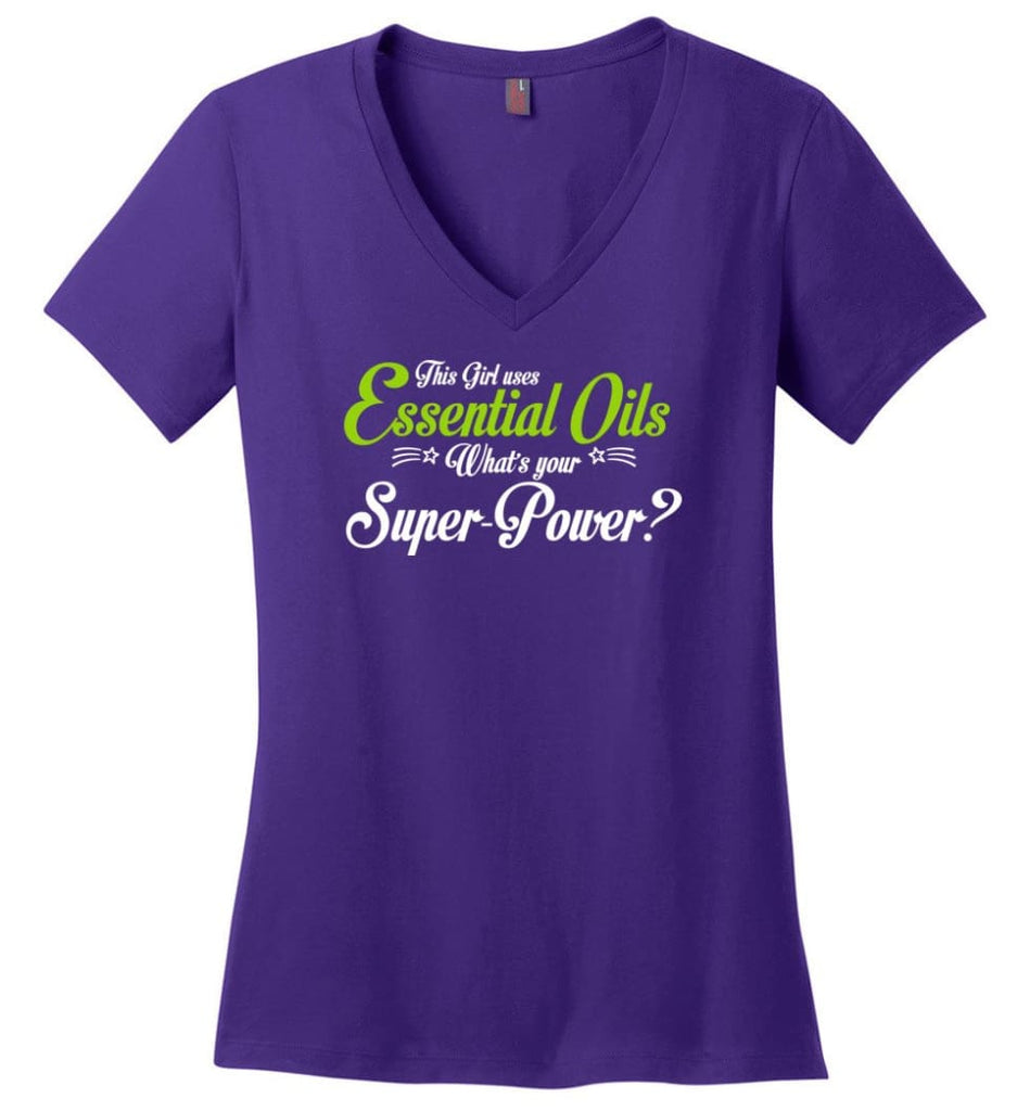 This Girl Uses Essential Oils Ladies V-Neck - Purple / M