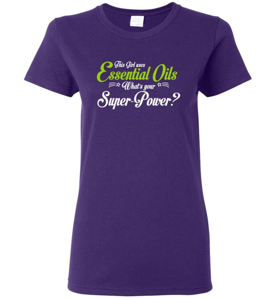 This Girl Uses Essential Oils Women Tee - Purple / M