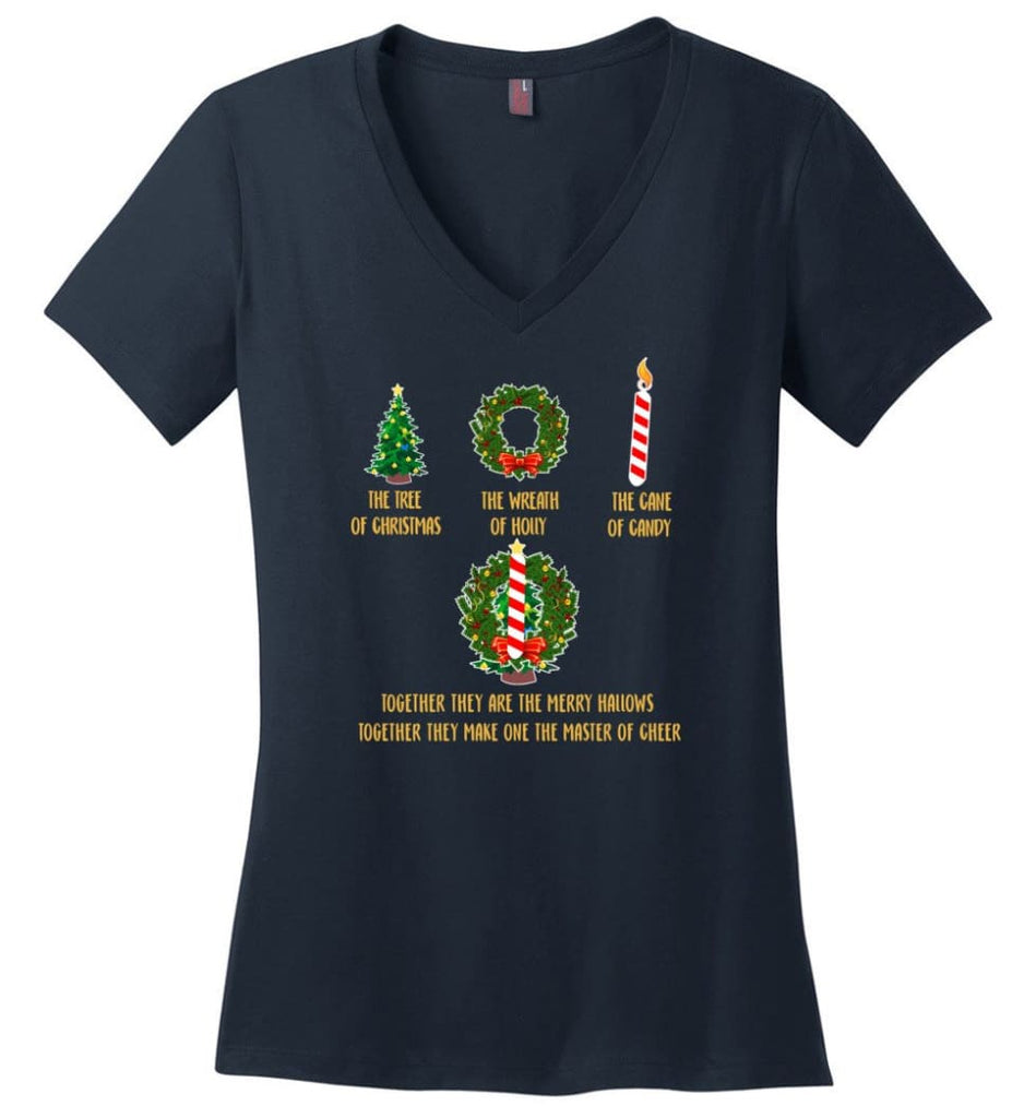 Together They Are Merry Hallows Together They Make One The Master Of Cheer - Ladies V-Neck - Navy / M