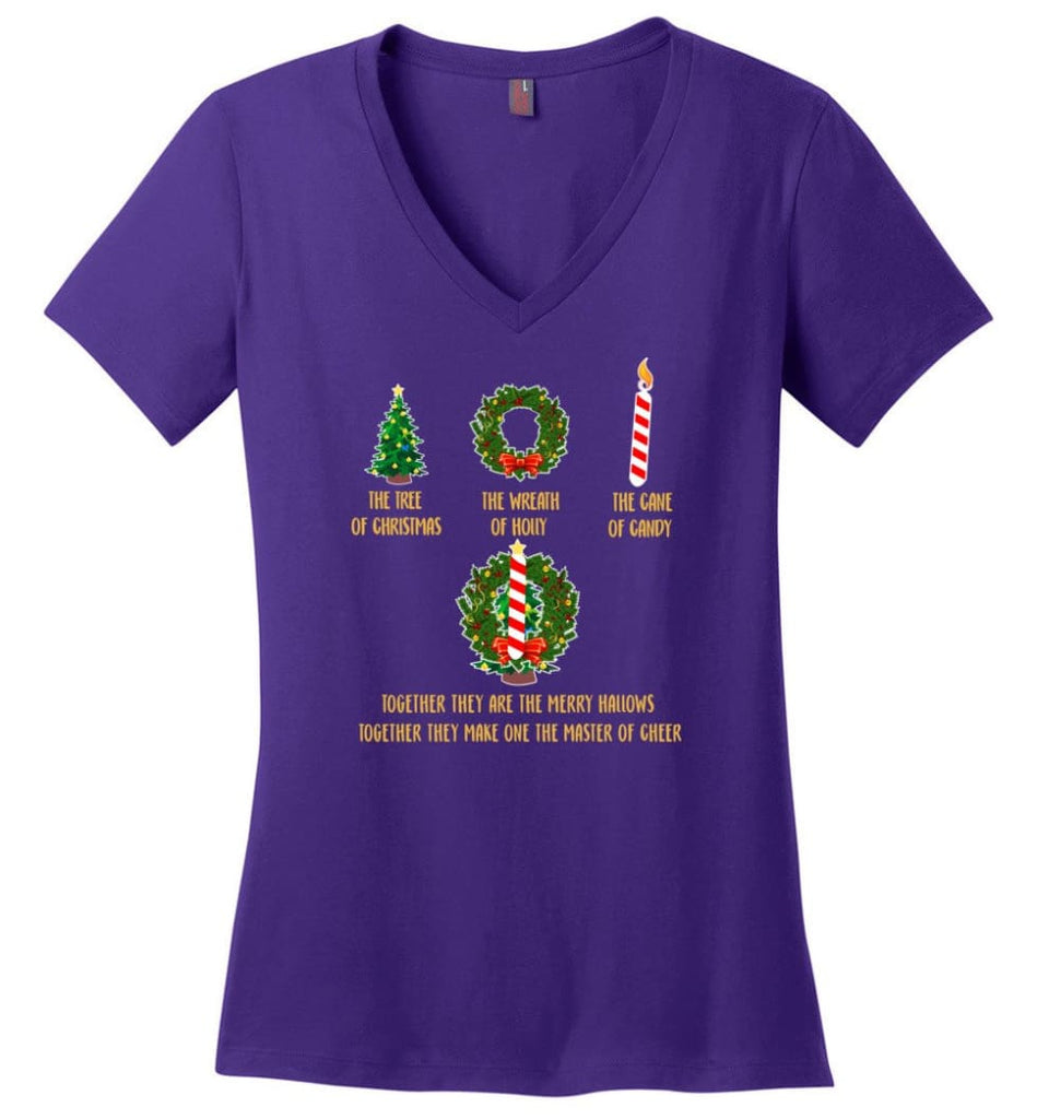 Together They Are Merry Hallows Together They Make One The Master Of Cheer - Ladies V-Neck - Purple / M