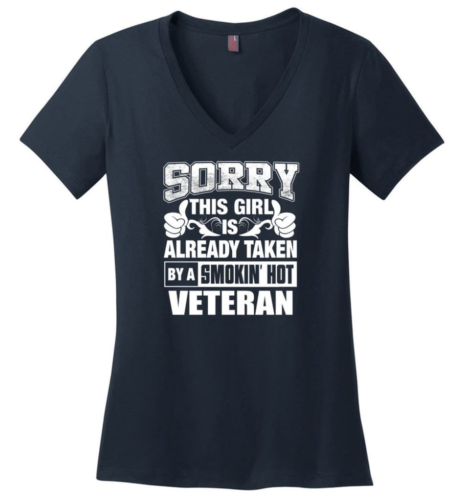 TRAINER Shirt Sorry This Girl Is Already Taken By A Smokin' Hot Ladies V-Neck - Navy / M - 8