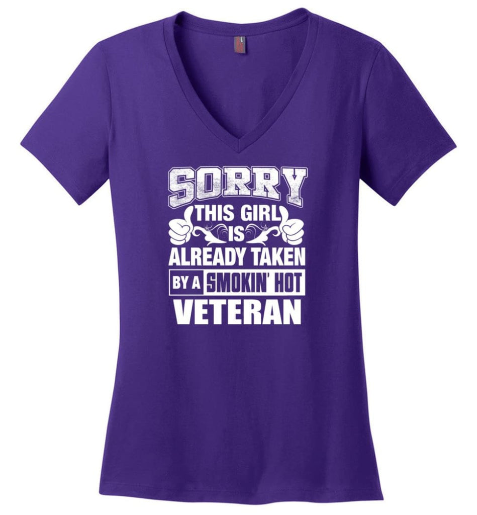TRAINER Shirt Sorry This Girl Is Already Taken By A Smokin' Hot Ladies V-Neck - Purple / M - 8