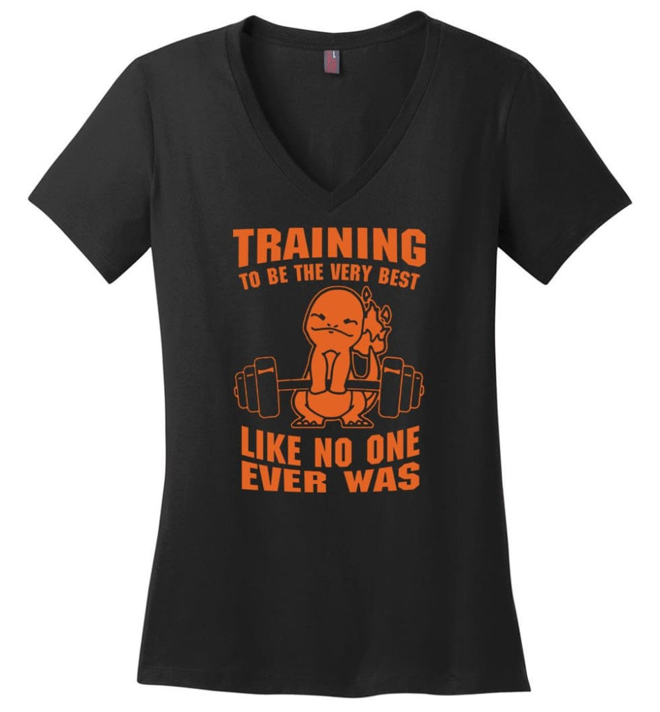 Training To Be The Best Like No One Ever Was Pokemon Gym Charmander Ladies V-Neck - Black / M