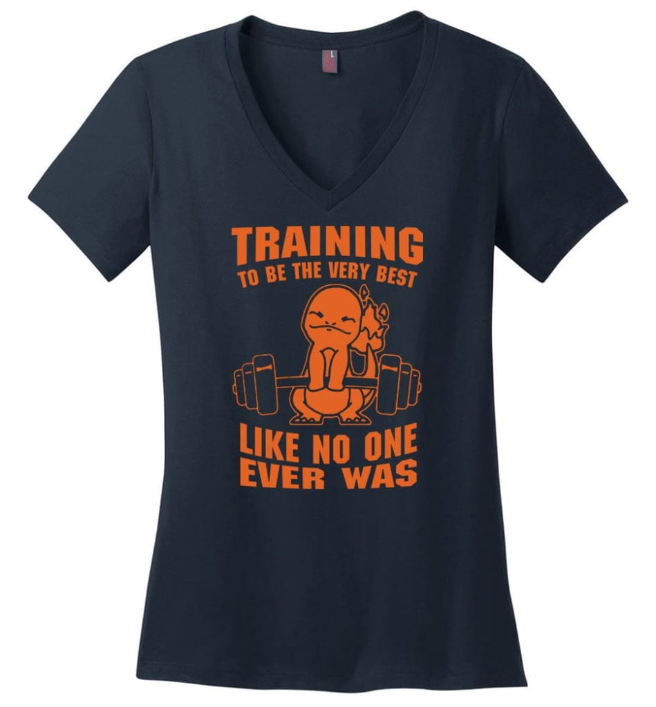 Training To Be The Best Like No One Ever Was Pokemon Gym Charmander Ladies V-Neck - Navy / M