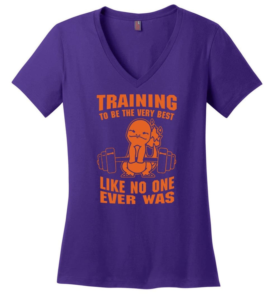 Training To Be The Best Like No One Ever Was Pokemon Gym Charmander Ladies V-Neck - Purple / M