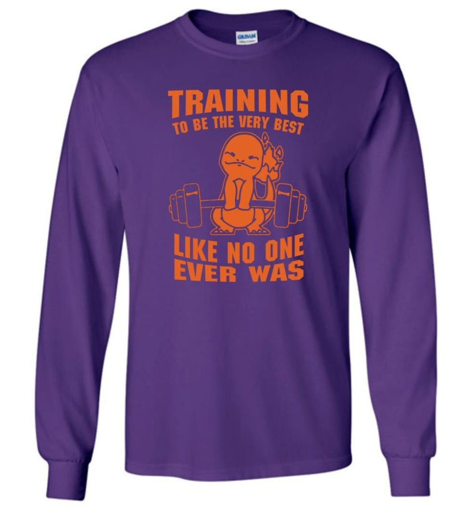 Training To Be The Best Like No One Ever Was Pokemon Gym Charmander - Long Sleeve T-Shirt - Purple / M