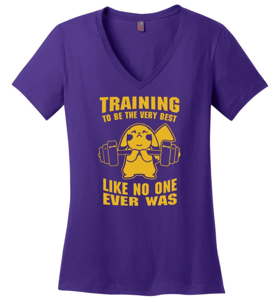 Training To Be The Best Like No One Ever Was Pokemon Gym Pikachu - Ladies V-Neck - Purple / M