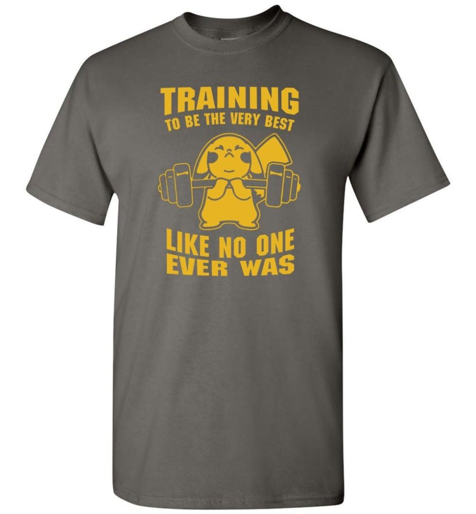 Training To Be The Best Like No One Ever Was Pokemon Gym Pikachu - T-Shirt - Charcoal / S
