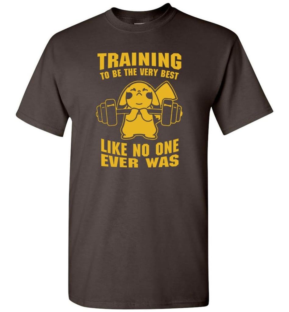 Training To Be The Best Like No One Ever Was Pokemon Gym Pikachu - T-Shirt - Dark Chocolate / S