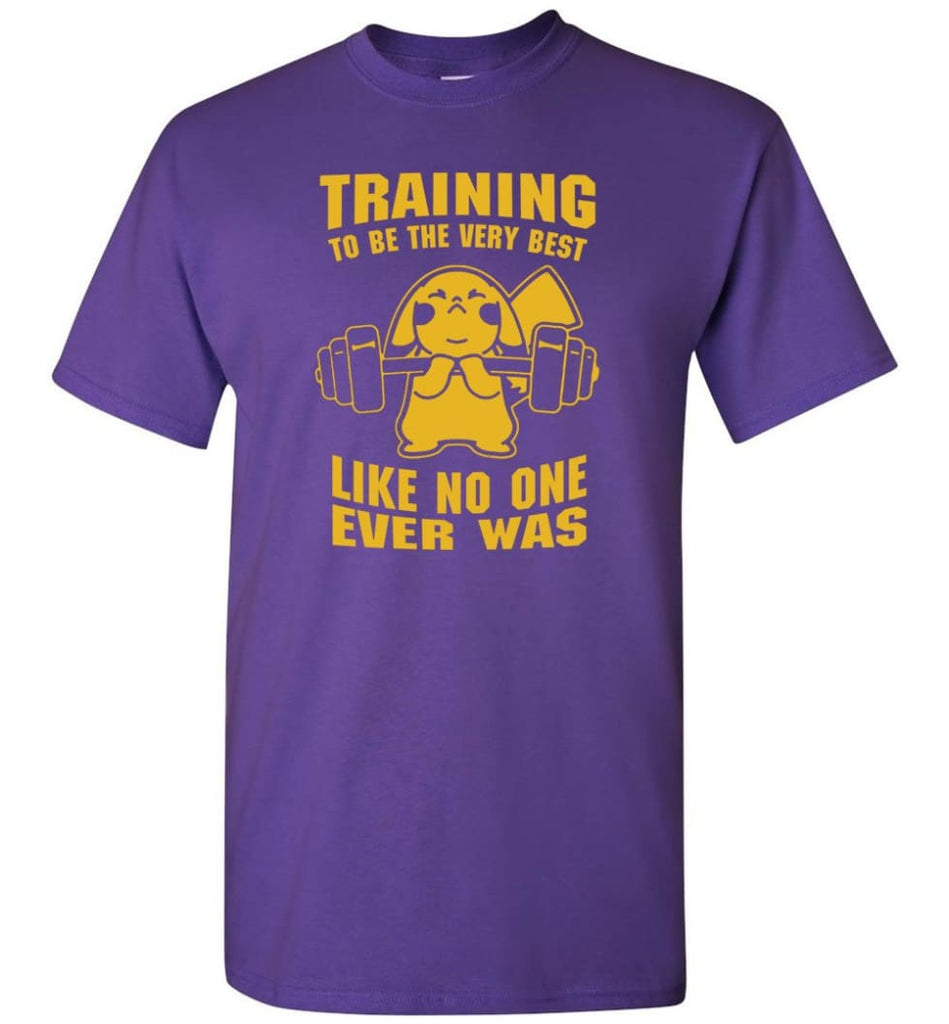 Training To Be The Best Like No One Ever Was Pokemon Gym Pikachu - T-Shirt - Purple / S