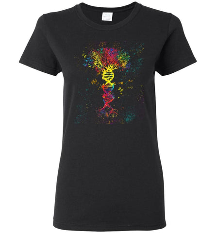 Tree Life Water Color Colorful DNA Tree - Women Tee - Black / M - Women Tee