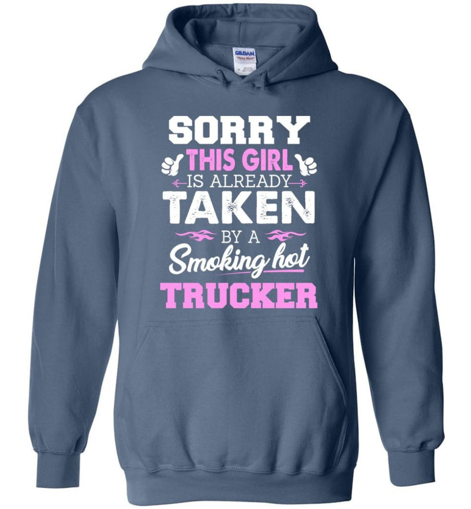 Trucker Shirt Cool Gift for Girlfriend Wife or Lover - Hoodie - Indigo Blue / M
