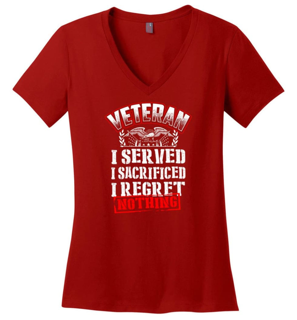 Try Stepping On This Veteran's Flag T Shirt Ladies V-Neck - Red / M
