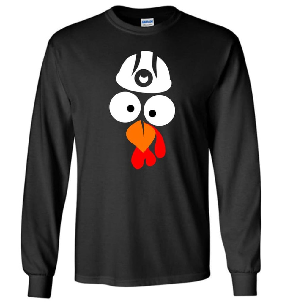 Turkey Face Coal Miners Thanksgiving Gifts Long Sleeve T-Shirt - Black / M