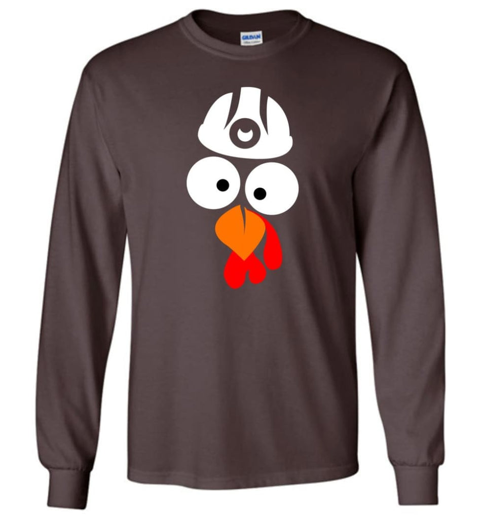 Turkey Face Coal Miners Thanksgiving Gifts Long Sleeve T-Shirt - Dark Chocolate / M